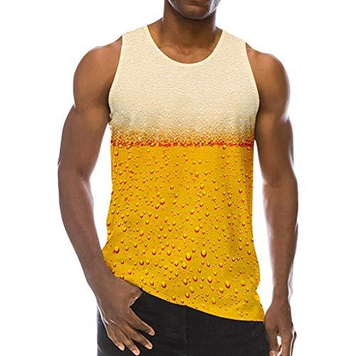 Short Sleeve Mesh Back Tee (Herren Tank Top Ärmellose T-Shirts Sommer Sportshirt Unterhemden Weste Muskelshirt Ärmels Mit Rundhalsausschnitt Lässig Graphic Top Tees für Herren (XL, Gelb))