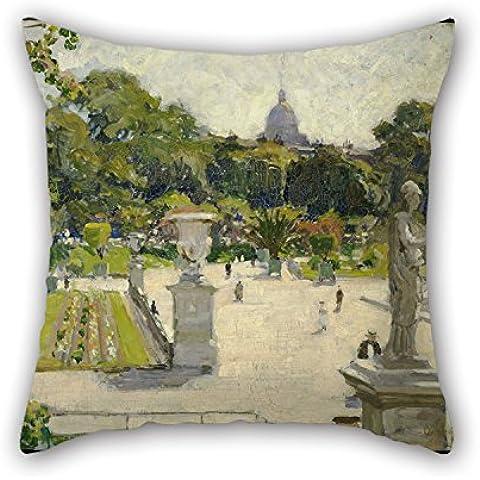 uloveme, óleo George Oberteuffer Luxemburgo jardines manta fundas de almohada de 16x 16