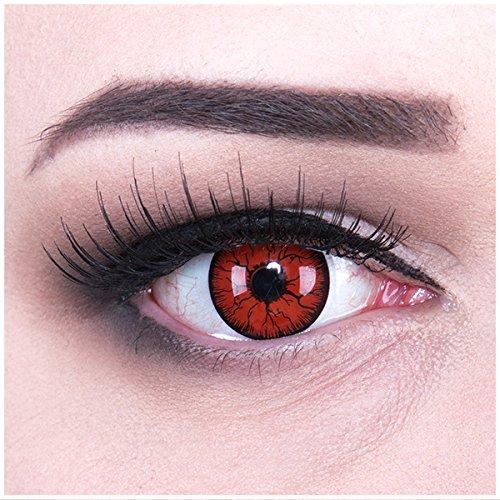 Halloween Naruto Kontaktlinsen (Meralens rote Kontaktlinsen, Metatron mit Pflegemittel ohne Stärke, 1er Pack (1 x 2 Stück))
