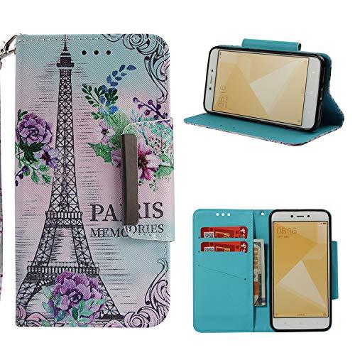Cozy Hut Xiaomi Redmi 4X Hülle, Premium Leder Hülle Flip Case Tasche Hüllen mit Magnetverschluss Standfunktion Schutzhülle handyhüllen für Xiaomi Redmi 4X - Paris 4 Gb Case