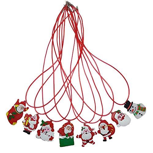 Doolland 8 Stück Weihnachten Lightning Soft Kette Halskette, Blinkende Weihnachtsmann Schneemann Weihnachtsbaum LED Anhänger für Kids Party Favors Weihnachtsdekoration, zufällige Stile (Halsketten Weihnachten Blinkende)