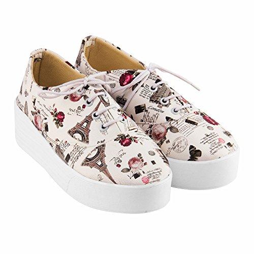NalmaK Women's Casual Shoes 2 Colours (Black-White) Best Seller Girls Sneakers (4, White)