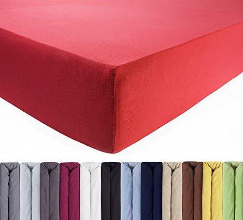 ENTSPANNO Jersey-Luxus-Spannbettlaken für Wasser- und Boxspringbett in Koralle-Rot aus Baumwolle. Spannbetttuch mit Einlaufschutz, 180 x 200   200 x 200   200 x 220 cm, bis 40 cm hohe Matratzen