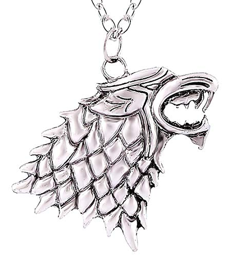 Lovelegis Wolf Mann Halskette - Herrenkette - Herren Halskette - Haus - Thron der Schwerter - Alta Stark - Game of Thrones - Jon Snow - Silberne Farbe