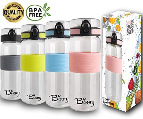 Tritan Trinkflasche 820 ml | BPA frei und auslaufsicher | Sportflasche mit Fruchtsieb | Dein Begleiter für Fitness, Freizeit, Büro, Schule, Reisen | 1-Click Öffnung | grosses Volumen - ROSA
