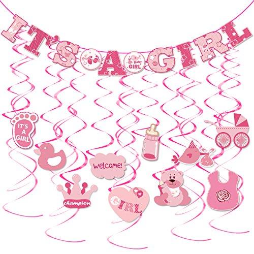 BESTOYARD 30pcs es ist ein Mädchen Banner Mädchen Baby Dusche niedliche hängende Dekoration für Parteien (1 x es ist ein Mädchen Banner, 10 X Swirl mit Hang Tag, 10 x Wirbel ohne Hang Tag)