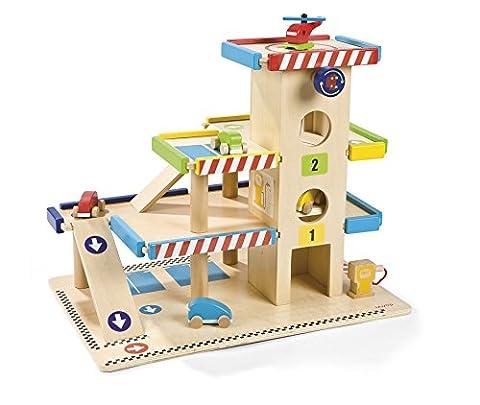 Janod J05715 - Parkdeck aus holz (Holzspielzeug Parkhaus)