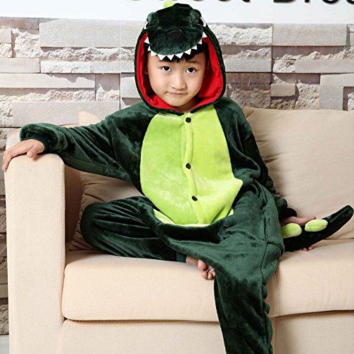 MH-RITA Kostenloser Versand Hochwertige Cartoon Dinosaur Tier Cosplay Flanell Unisex Kids Body Schlafanzug Herbst/Winter Nachtwäsche, Grün, (Monster Thema Cookie)