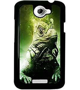 ColourCraft Lizard Look Design Back Case Cover for HTC ONE X