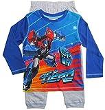 Transformers Schlafanzug Jungen Pyjama Lang (Blau-Grau, 104-110)