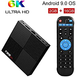 Sidiwen Android 9.0 TV Box T95 Mini 2 Go de RAM 16GB ROM H6 Quadcore Boîte de TV Intelligente 2.4GHz WiFi Ethernet USB 3.0 Support 3D 6K Ultra HD Streaming Media Player