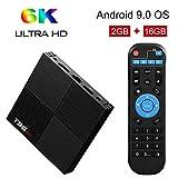 Sidiwen Android 9.0 TV Box T95 Mini 2 Go de RAM 16GB ROM H6 Quadcore Boîte de TV Intelligente 2.4GHz WiFi Ethernet USB 3.0 Support 3D 6K Ultra HD Streaming Media Player