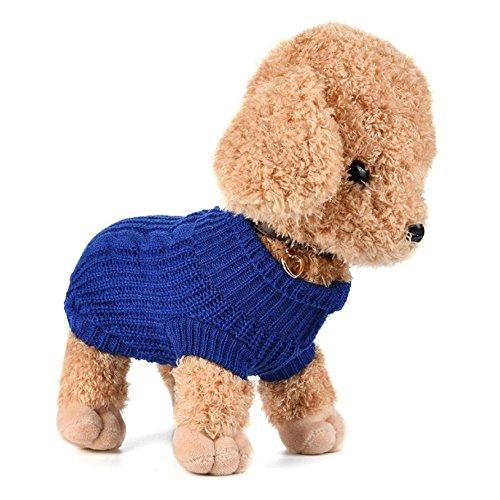 Imagen de ropa para perros, internet puente de punto para mascotas suéter de invierno disfraz de peluche s, azul oscuro