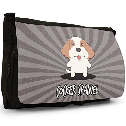 English Cartoon cani grande borsa a tracolla Messenger Tela Nera, scuola/Borsa Per Laptop Cocker Spaniel