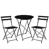 [casa.pro]® Set bistro de madera (mesa + 2 sillas) juego de muebles de jardín, balcón - negro