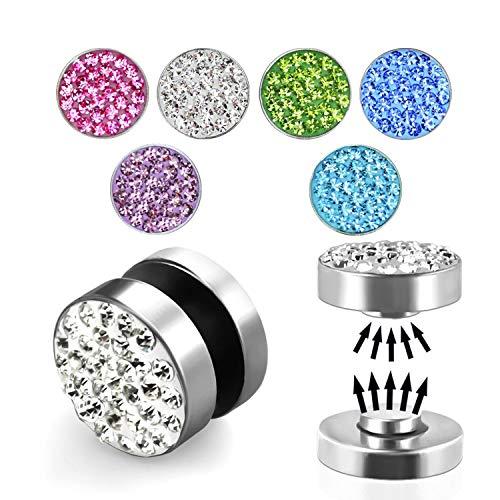 Treuheld Magnet Fake Plug - Stahl - Silber - Kristalle [01.] - pink (Ohr-loch)