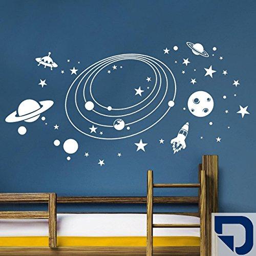 Rakete Wandtattoo (DESIGNSCAPE® Wandtattoo Weltall mit Planeten, Rakete, Sternen und Ufos 90 x 46 cm (Breite x Höhe) königsblau DW808051-S-F13)