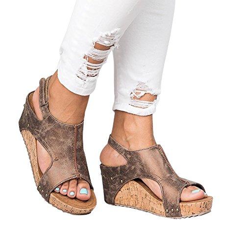 Santimon Elegant Damen Sandalen Espadrilles Sommer Gladiator Peep Toe Casual Strand Sandaletten Schuhe Braun 35 EU (Low Wedge-flache Schuhe)