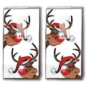 20 Taschentücher (2x 10) Taschentücher Rudolph/Rentier / Winter/Weihnachten