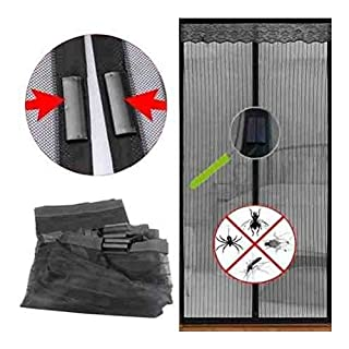 Magic Magnetic Door Curtain Mesh Bug Insect Mosquito Hands Fastening Fly Screen, 90cm x 210cm - Black by ARTUROLUDWIG