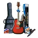 Ashton SPD25CEQWRS Elektro Akustik Gitarre mit eingebauten Tuner und Zubehör