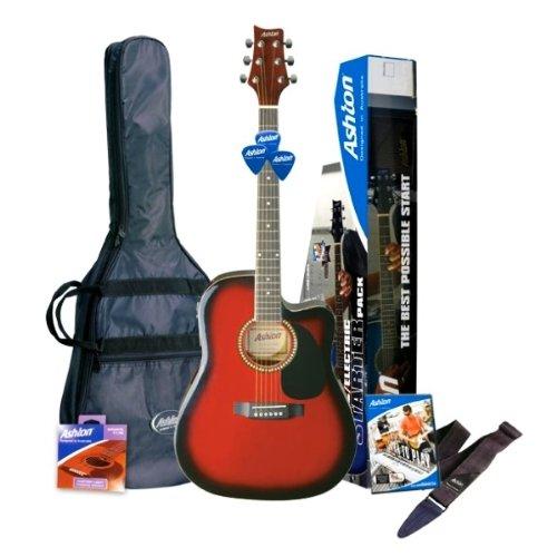 Ashton SPD25CEQWRS Elektro Akustik Gitarre mit eingebauten Tuner und Zubehör rotwein
