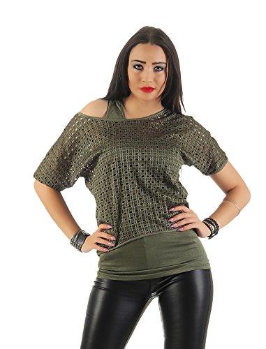 Mr. Shine –Damen Kurzarm Lose Bluse Oversize mit Trägertop Fashion s-xxl Armee Grün