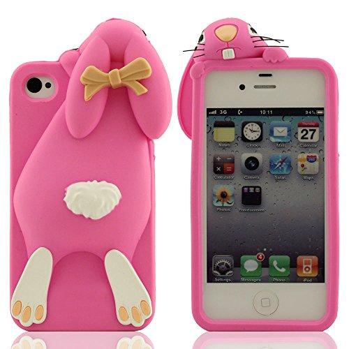 iPhone 4 4S 4G Custodia, Speciale Carina Coniglio Aussehen Diseño, iPhone 4 4S Case, Morbida Silicone Copertura protettiva Premio Protezione Slap-up Stile Tocco Morbido Anti-Shock Rosa caldo