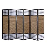 Homestyle4u 191, Paravent Raumteiler 6 teilig, Faltbar Blickdicht, Holz Bambus Reispapier, Braun