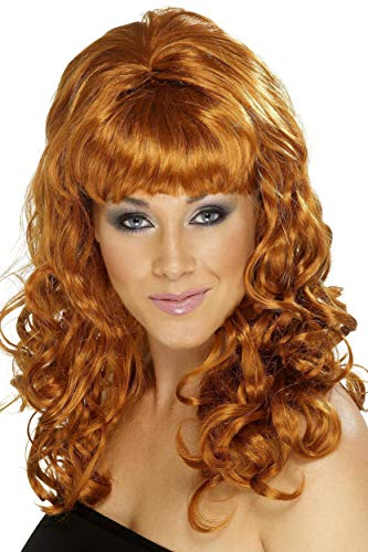 nstock Beauty Perücke mit Locken, One Size, Rotbraun, 42061 ()