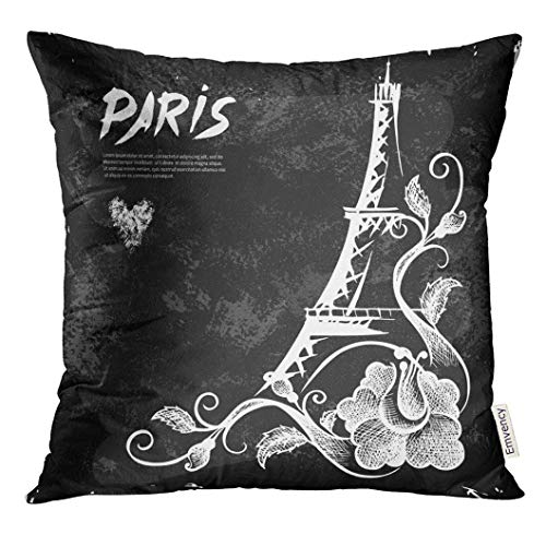 Throw Pillow Cover Vintage Eiffel Tower Night Paris Artistic Decorative Pillow Case Home Decor Square 18x18 Inches Pillowcase - 4-tier Tower