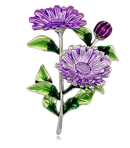 KristLand - Damen Lady Fashion Exquisite Kleine Daisy Flower Brosche Geometric Corsage Pins Anhänger Schmuck Kleidung Accessoires Geburtstagsgeschenk Lila Designer-hut-boxen