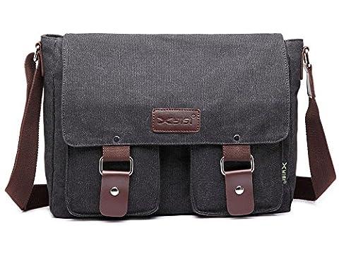 Herren Segeltuch und Leder-Umhängetasche Schultertasche Vintage Messenger Crossbody Sling Seite Tasche aus Segeltuch Tasche schwarz schwarz (Co Leder Sling)