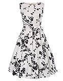 Vestido Blanco Mujer Floral Algodón Vestido 1950s para Fiesta XL CL663-1