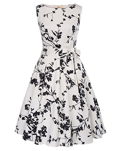 1950s Retro A-Line Dress Sleeveless Party Wedding Guest Dress with Belt