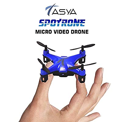 TASYA Spotrone Micro Video Drone with Built-in 480P HD Camera, 6-Axis Gyroscope & Altitude Hold Function. 2.4Ghz Remote Control 4 Channels RTF Mini Quadcopter Toy - Blue