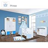 Babyzimmer Mexx in Weiss Hochglanz 22 tlg. mit 3 türigem Kl. + Prince Blau