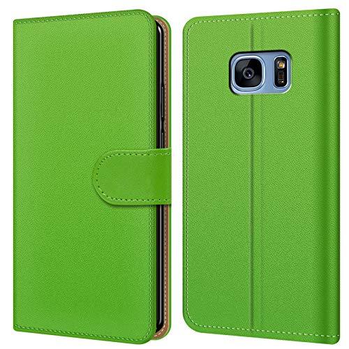 Conie BW35125 Basic Wallet Kompatibel mit Samsung Galaxy S7 Edge, Booklet PU Leder Hülle Tasche mit Kartenfächer und Aufstellfunktion für Galaxy S7 Edge Case Grün