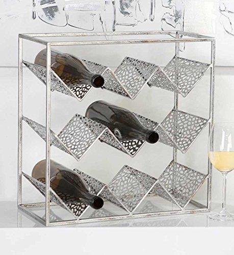 Weinregal 'Purley' aus Metall · antik-silber für 9 Flaschen zum Stellen Höhe 40 cm · Breite 40...