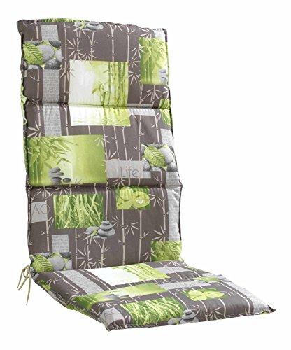 Sesselauflage Sitzpolster Gartenstuhlauflage für Hochlehner BANDARA 1 | 50x120 cm | Grau-Grün