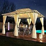 Swing & Harmonie Luxus LED - Pavillon 3x4m Minzo - inkl. Seitenwände mit LED Beleuchtung + Solarmodul Designer Gartenpavillon optional mit Moskitonetz Gartenzelt Partyzelt (mit Moskitonetz, Creme)