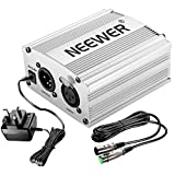 Neewer 1- Channel 48V Phantom Power Supply Silver with Adapter and One XLR Audio Cable for Any Condenser Microphone Music Recording Equipment