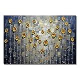 Gbwzz 3D Gold Rose Ölgemälde Abstrakte Blumen Kunst handgemalte Gemälde auf Leinwand Floral Wandkunst für Wohnzimmer Schlafzimmer, 60x120cm