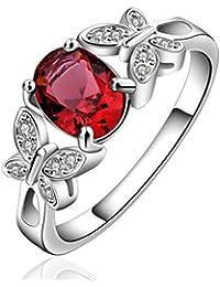 sunifsnow Mujeres Piedra Roja de regalo de los amantes de la Estética anillo