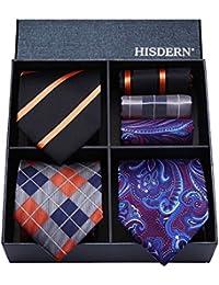 Hisdern Lotto 3 PCS Classico Elegante Seta da uomo Tie Set Cravatta    Pocket Square- 4e5d195f195