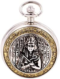 Celtic Pocket Watch Egyptian Cleopatra Motif with Chain Full Hunter Steampunk Cosplay PW-93