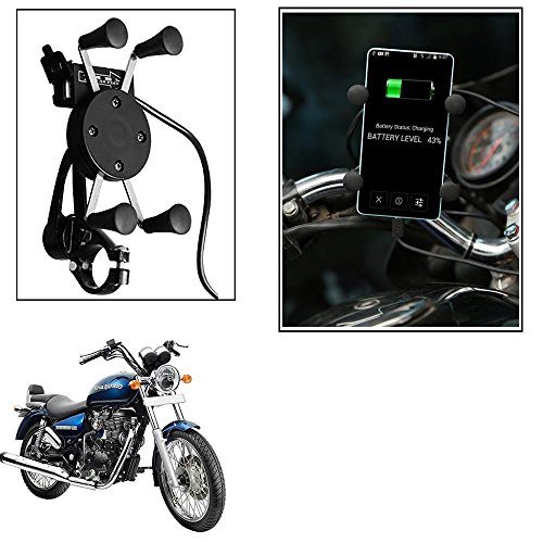 Autofier Spider Bike Mobile Holder with USB Charger Mototrcycle Mobile Holder Bracket For Yamaha SZ-R