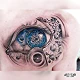 Tatuaggio Temporaneo Realistico di artistas (2 tatuaggi) 'Blue Mechanic Eyes' - ArtWear Tattoo - B0053 M