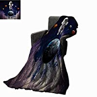 Anyangeight Outer Space Digital Printing Blanket Astronaut Cats Exploring The Universe on Dotted Background,Super Soft and Comfortable,Suitable for Sofas,Chairs,beds