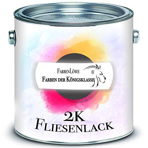 FARBENLÖWE 2-K Fliesenlack im SET für Fliesen inkl. Härter Fliesenlack GLÄNZEND Weiß Grau Cremeweiß Anthrazitgrau Lichtgrau Silbergrau Schwarz RAL (2,5 kg, Anderer RAL-Farbton (Bitte RAL Wert senden))